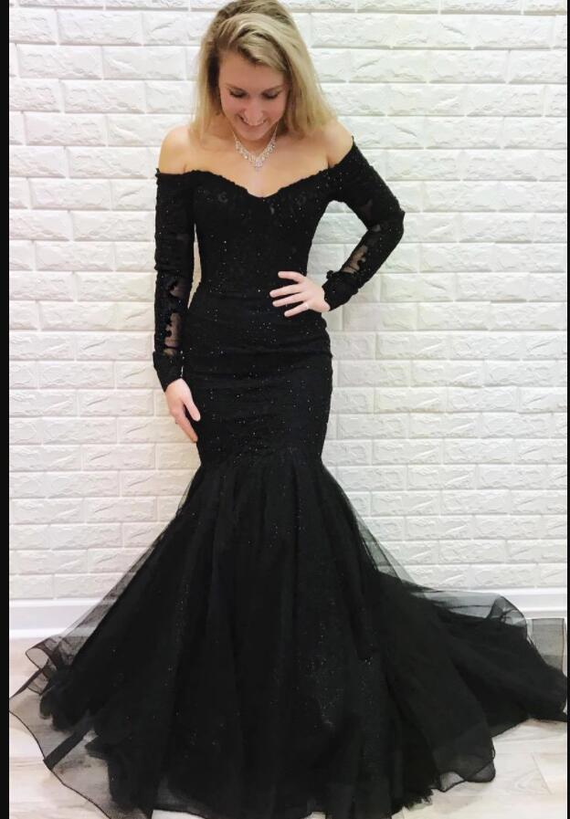 New Arrival Black Beaded Lace Mermaid Prom Dress Off Shoulder Women Party Gowns