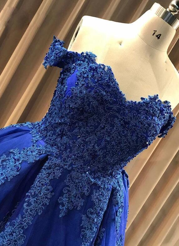 Charming Ball Gown Cap Sleeve Lace Appliques Prom Dresses, Blue Party Dress
