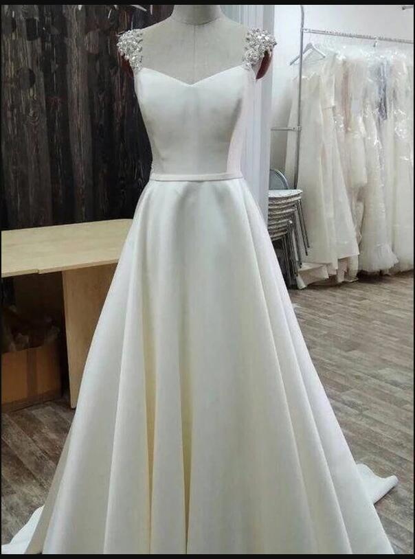 Fashion White Satin A Line Long Prom Dresses Custom Made Women Party Gowns