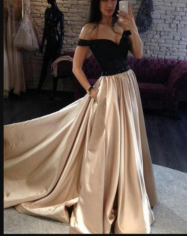 Off Shoulder Black And Champagne Satin A Line Long Prom Dress Custom Made Women