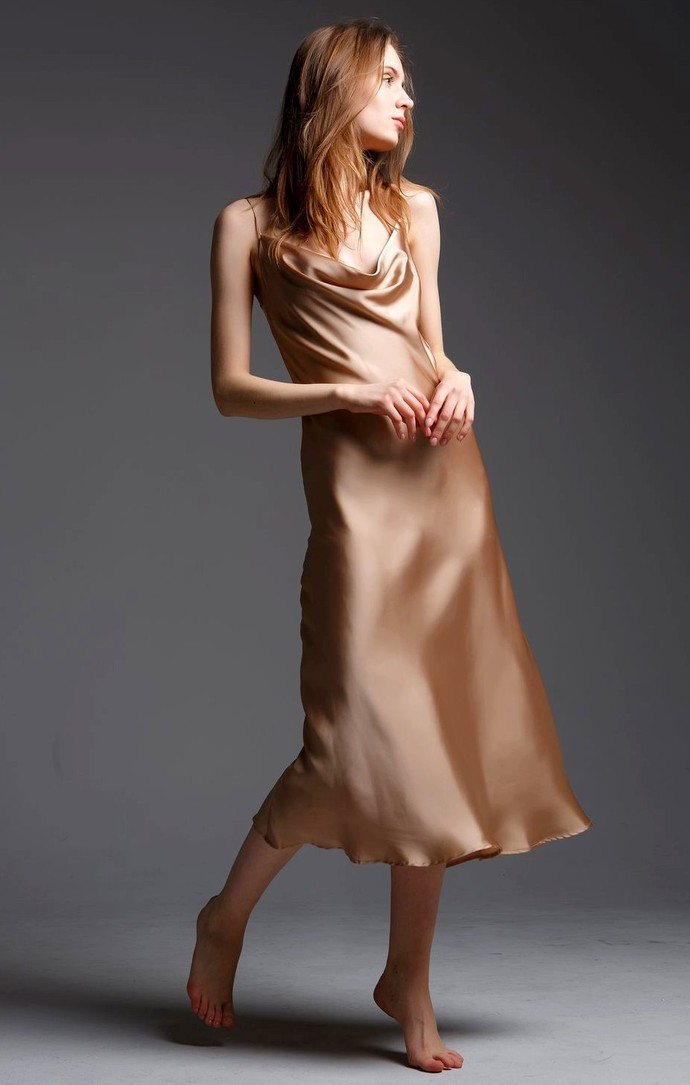 Women Satin Slip Dress, Bridesmaid Silky Slip Dress, Wedding Prom Bridal Dress.