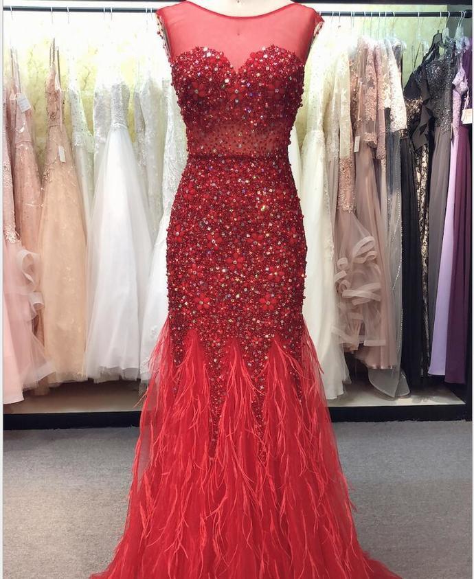 Luxury Beaded Crystal Red Tulle Mermaid Prom Dress Scoop Neck Women Pageant