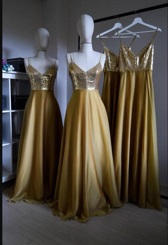 Fashion Spaghetti Strap A Line Long Prom Dress Gold Sequin Corset Women Gowns