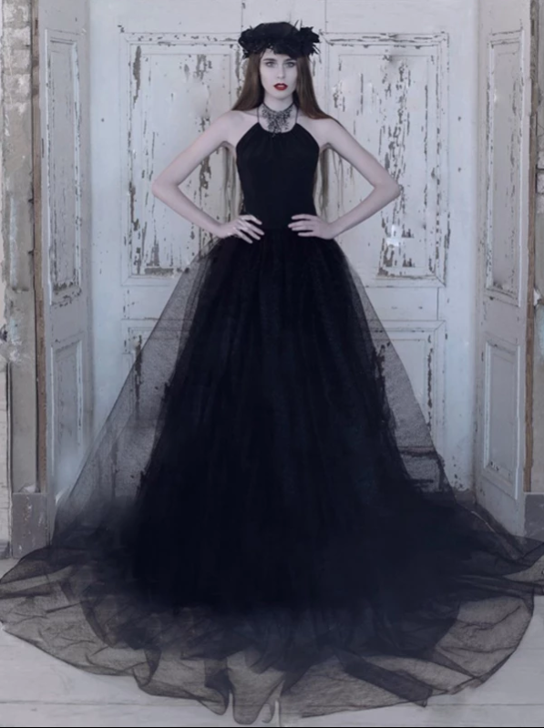Prom Dress Black Sexy A-line Scoop Long Simple Prom Dress/Evening Dress , CD412