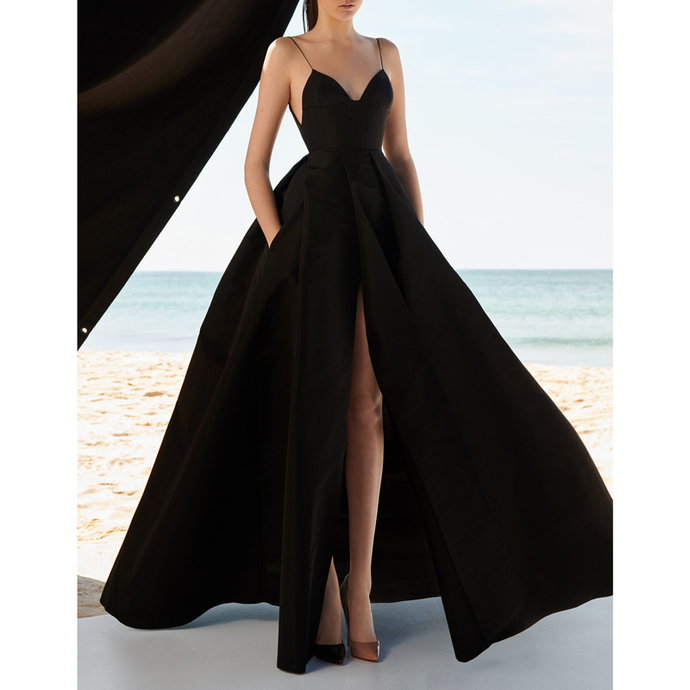 New Arrival Black Satin A Line Prom Dress Custom Made Prom Party Gowns 2020 Plus