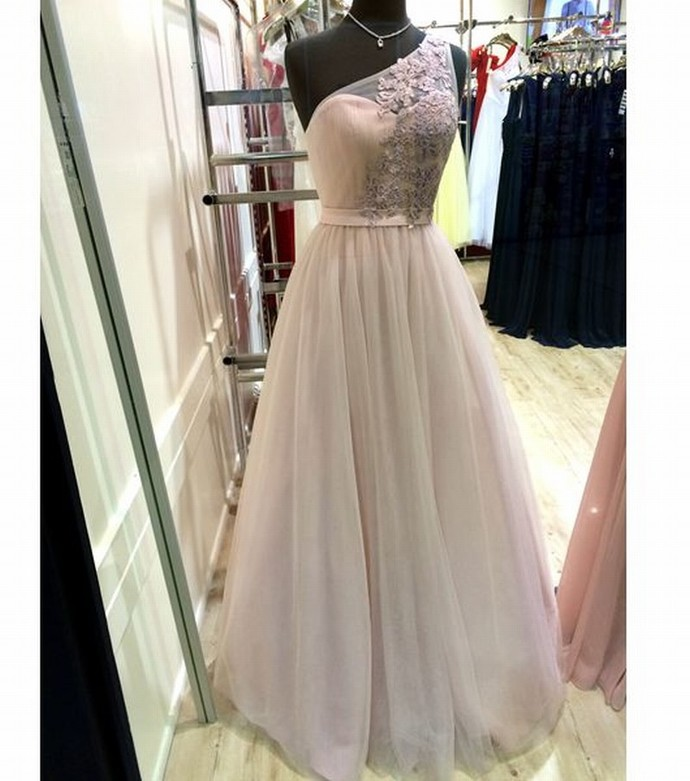 Sexy One Shoulder Tulle Prom Dress, A Line Tulle Prom Gowns , Formal Evening