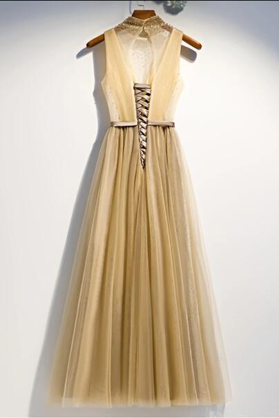 New Design Long Tulle O Neck Crystal A Line Prom Dress, Evening Dress