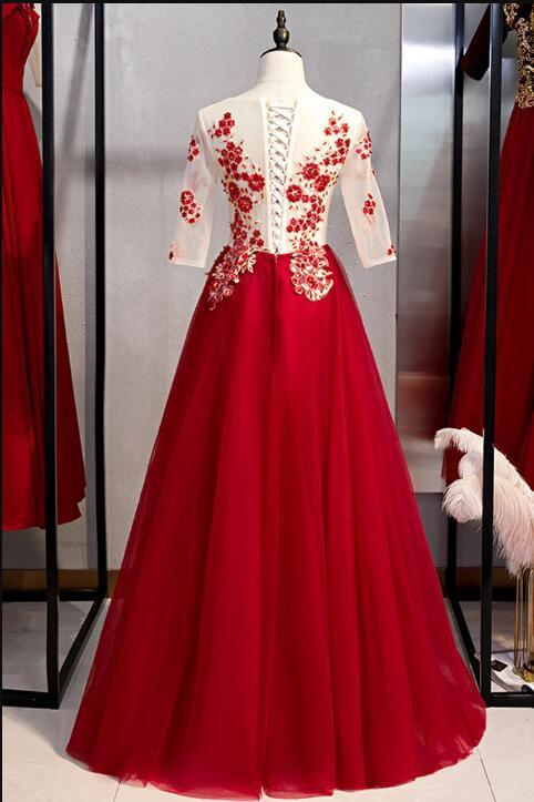 New Arrivals Burgundy Tulle 3/4 Sleeves Round Neck Lace Up Prom Dress With