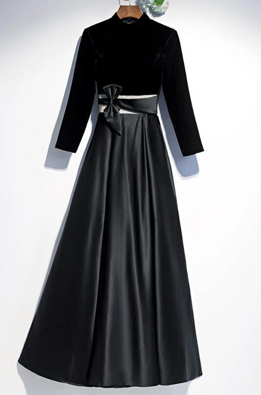 Black Satin Velvet Long Sleeve O Neck Prom Dress, Evening Dress With Bow