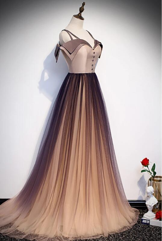 Unique Long Gradient Tulle Satin Off The Shoulder Long Prom Dress, Formal Dress