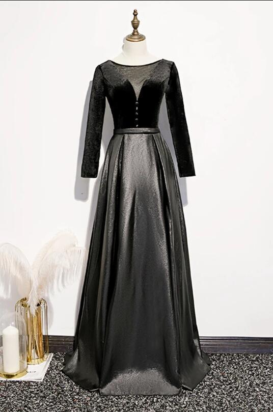 Black Tulle Long Sleeve Formal Prom Dress For Mother, Evening Dress