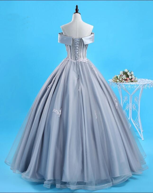 Unique Gray Tulle Lace Up Floor Length Senior Prom Dress, Evening Dress With