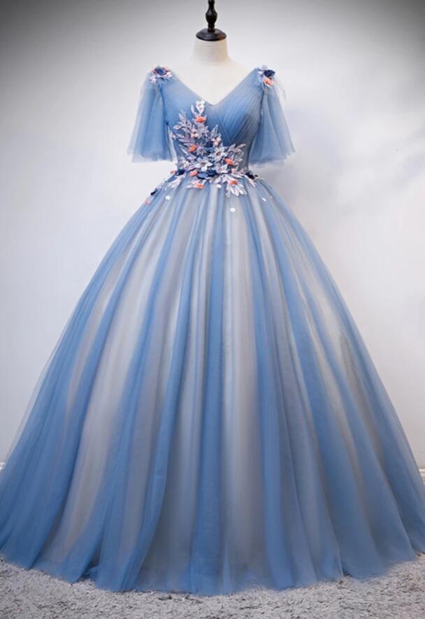 Blue Tulle Short Sleeve V Neck 3D Lace Applique Long Prom Dress, Formal Dress