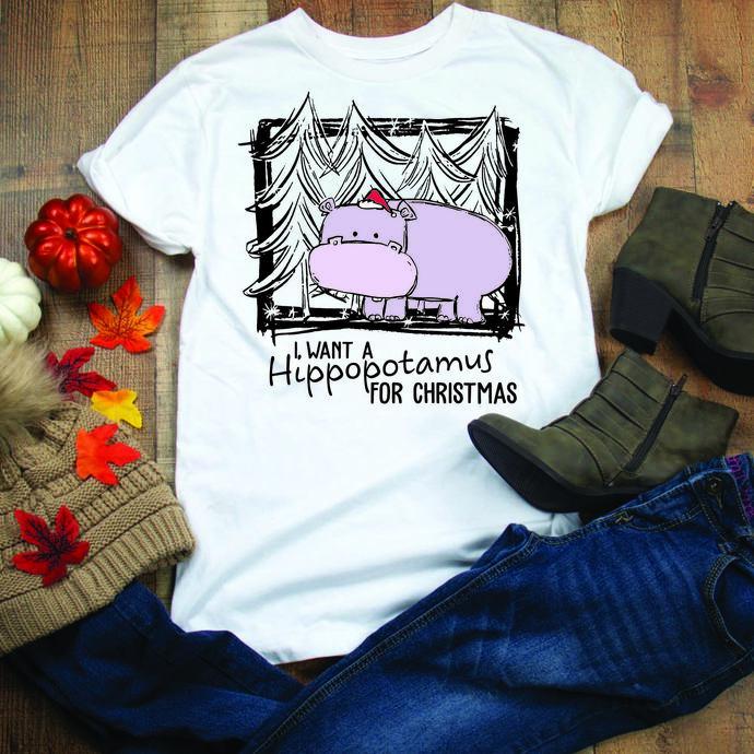 I want a hippopotamus for christmas, hippopotamus svg,Winter, Christmas,