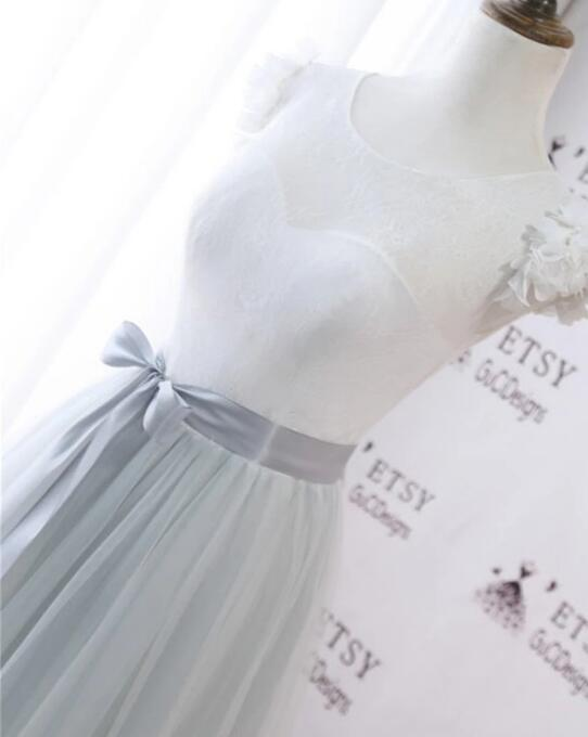 Gray Tulle White Lace A Line Long Cap Sleeve Prom Dress With Sash
