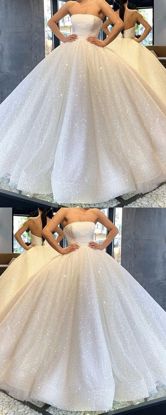 2019 Off the Shoulder White Tulle Appliques Ball Gown Wedding Dresses