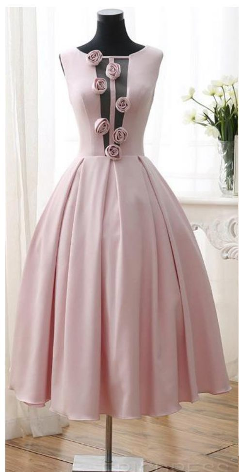 3D-Floral Flowers Homecoming Dresses Tea Length Sexy Low V Back Pink Girl Prom