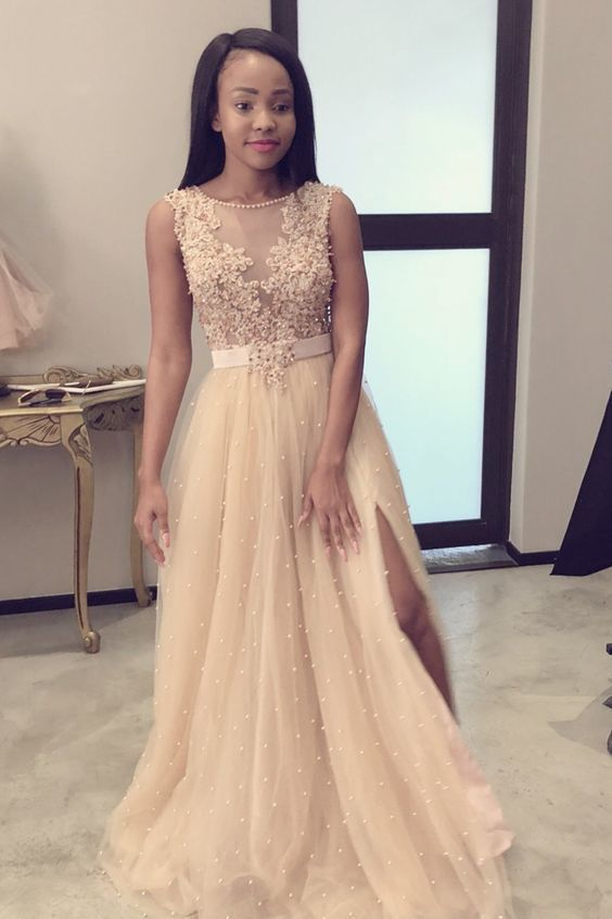 Champagne Appliques Long Prom Dress with Slit
