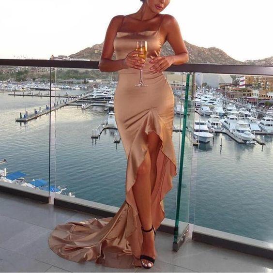 Irregular Ruffles Sexy Long Satin Backless Bodycon Dress Elegant Split Party