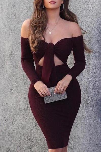 Sexy Off-Shoulder Pure Colour Slim Bodycon Dresses