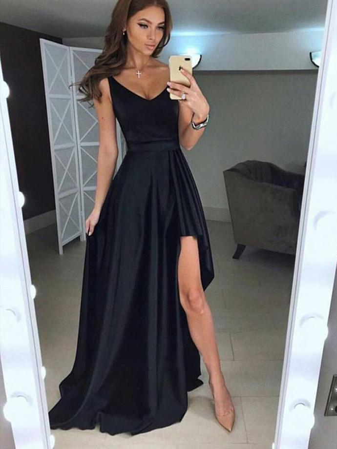 Elegant A Line V Neck Open Back Split Black Satin Long Prom Dresses,High Low