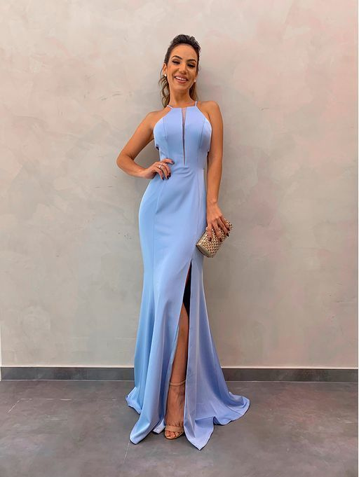 Mermaid Blue Simple Long Prom Dress, Sexy Sleeveless Blue Evening Dress