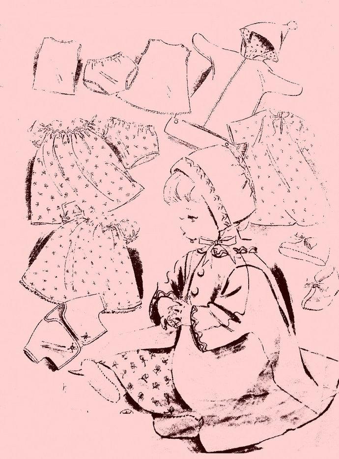 "Instant PDF Digital Download  Vintage Scarce Sewing Pattern Dolls Clothes. 15"" &"