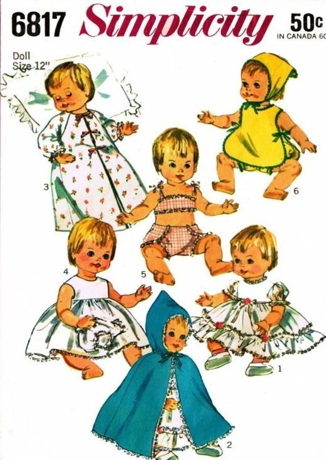 """Instant Digital Download PDF Vintage Sewing Pattern Doll Clothes 12"""" Baby Dolls"""