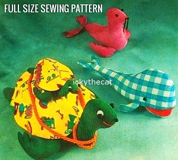 Instant PDF Digital Download Vintage Sewing Pattern Sit On Ride On Sea Turtle &