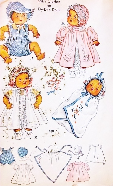 Instant PDF Digital Download Vintage Sewing Pattern Dolls Clothes Baby Dydee