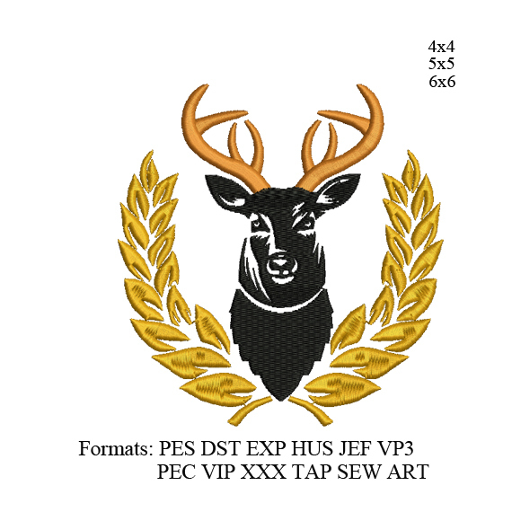 Deer with Laurel Embroidery design,Deer head embroidery pattern No 1138... 3