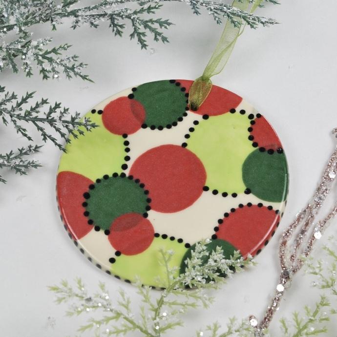 Handmade Ceramic Pottery Polka Dot Spot Christmas Colors Holiday Ornament
