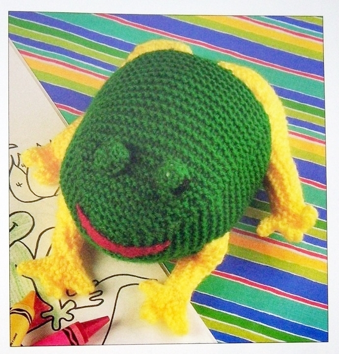 "Instant PDF Digital Download Vintage Knitting Pattern Easy 8"" Toy Frog A Stuffed"