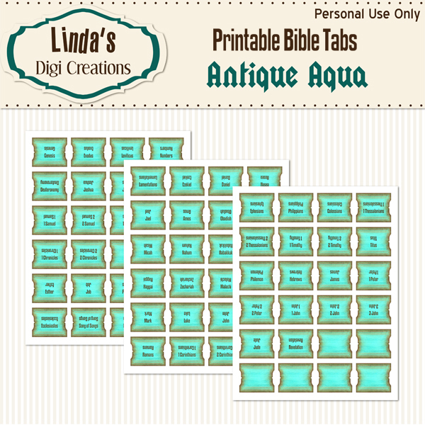 Antique Aqua Printable Bible Tabs