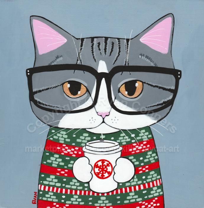 Grey Tabby Cat Ugly Christmas Sweater Original Coffee Cat Folk Art Painting