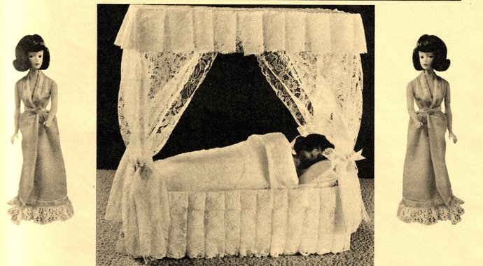 Instant PDF Digital Download Vintage Sewing Pattern Super Bed with Trimmings &