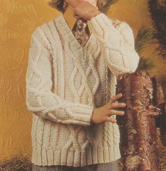 Instant PDF Digital Download Vintage Knitting Pattern Boy's Child's Long Sleeved