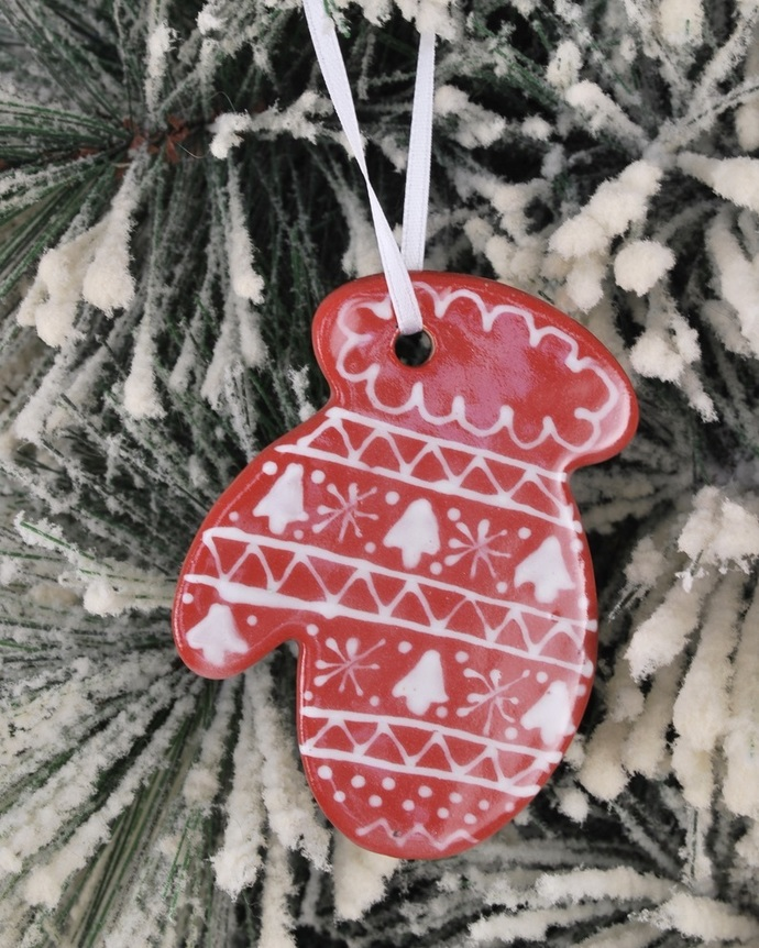 Handmade Ceramic Pottery Christmas Sweater Pattern Mitten Holiday Ornament