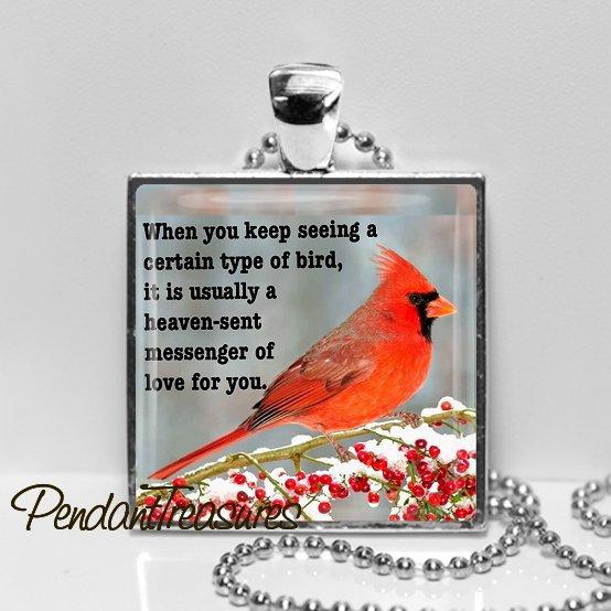 CARDINAL MEMORIAL QUOTE Red Bird Pendant Necklace Jewelry Glass Art  Handmade