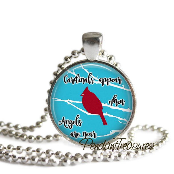Cardinals Appear When Angels Are Near Glass Art Handmade Pendant Necklace, Red