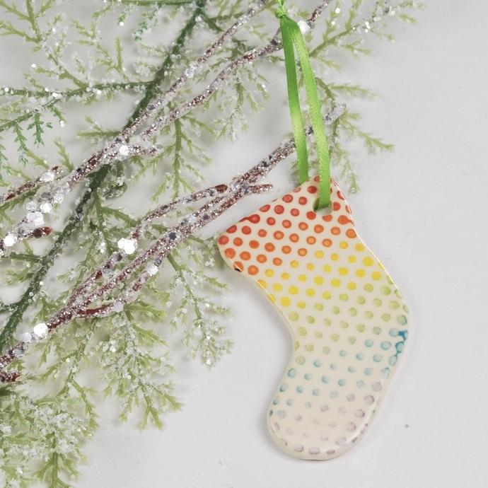 Handmade Ceramic Pottery Rainbow Polka Dot Spotted Stocking Holiday Ornament