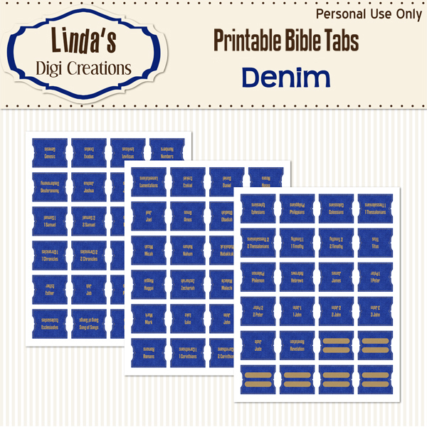 Denim Printable Bible Tabs