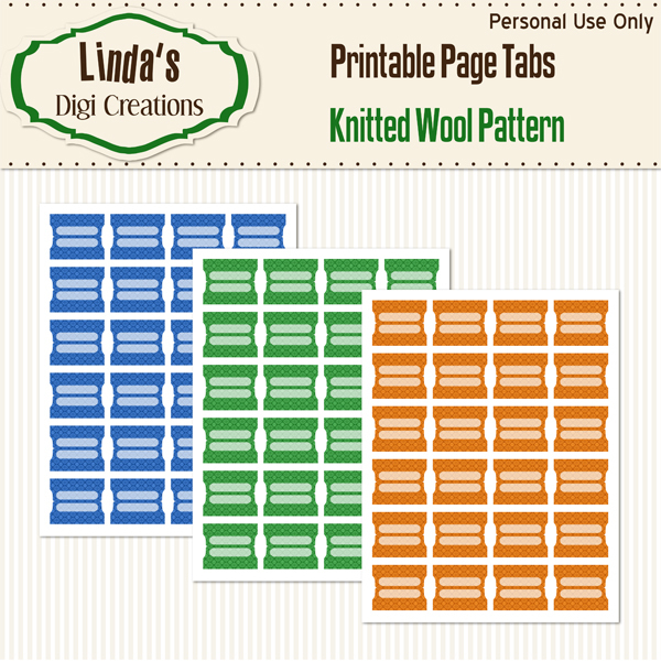 Knitted Wool Pattern Printable Page Tabs