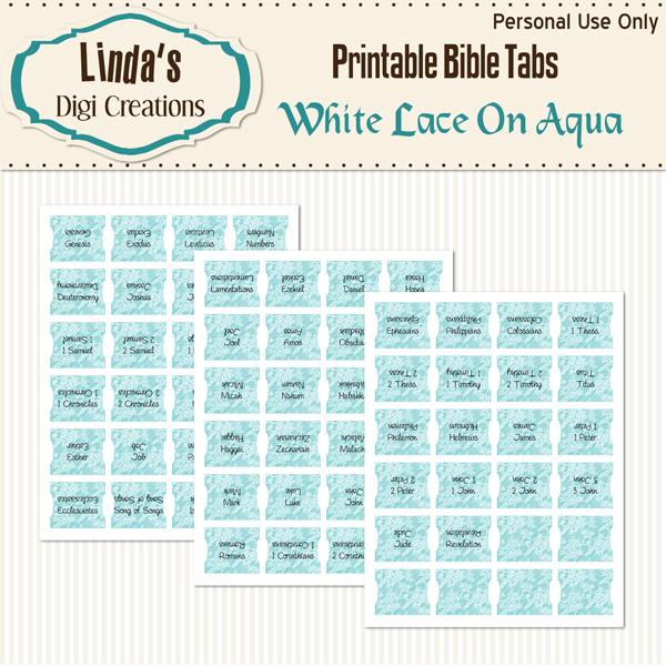 White Lace On Aqua Printable Bible Tabs
