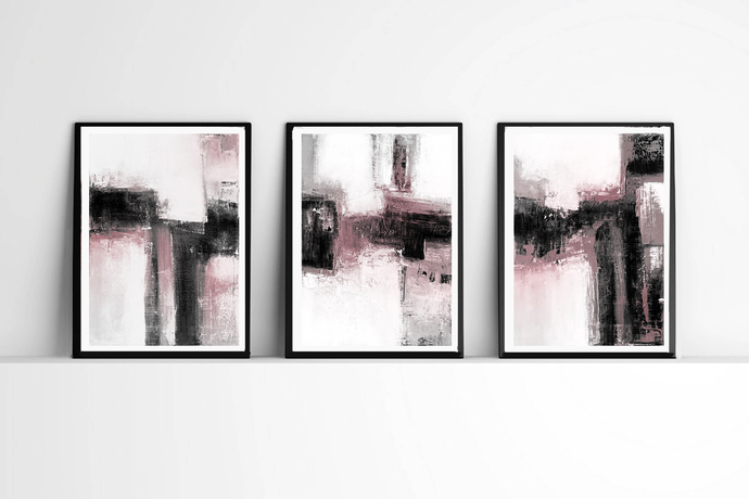 Abstract Art, Set of 3 Prints, Black & White and pink Wall Art Prints,