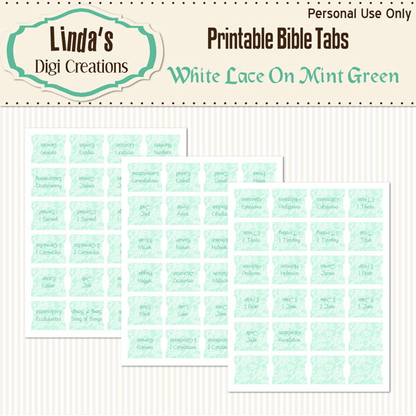 White Lace On Mint Green Printable Bible Tabs