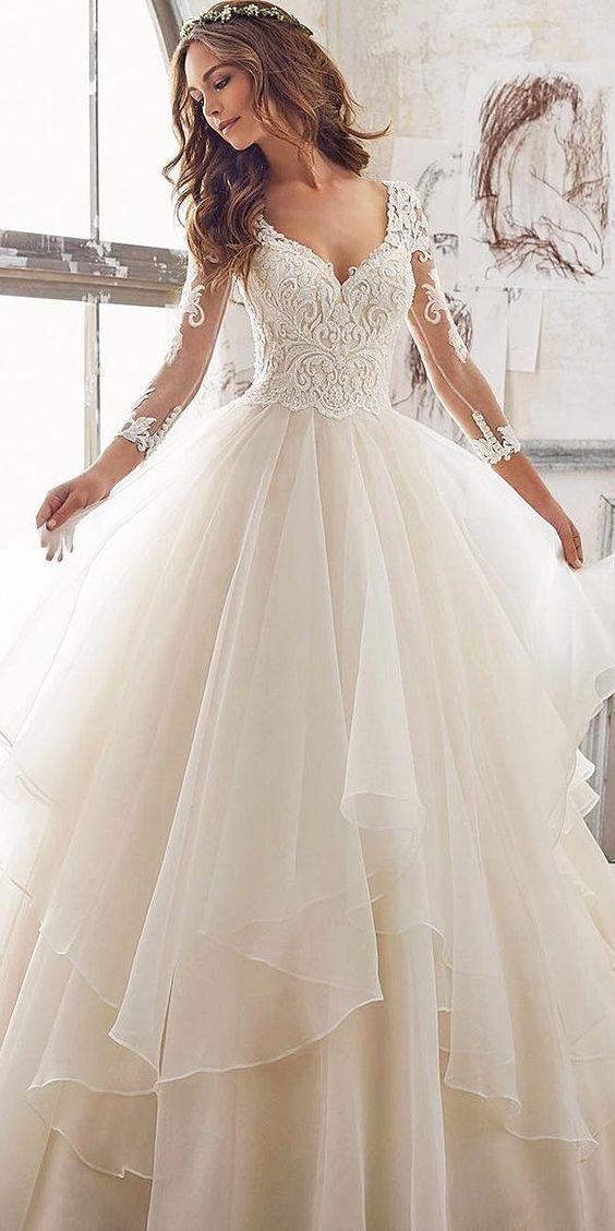 wedding Sexy Luxury Wedding Dress Long Sleeves Bridal Dress Hot D4752