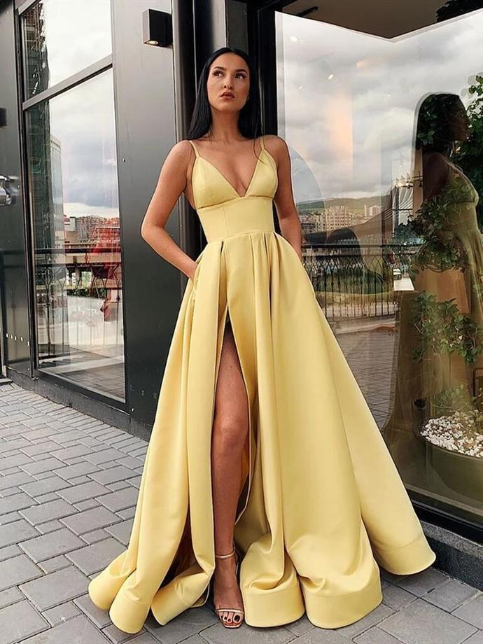 A Line V Neck Open Back Yellow Prom Dress with Leg Slit Graduation Dresses Hot