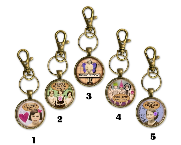 BFF Key chains, gift under $20, gift for her, fun gag gift, purse charms,