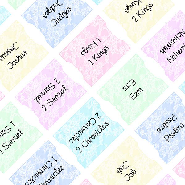 White Lace On Pastels Printable Bible Tabs